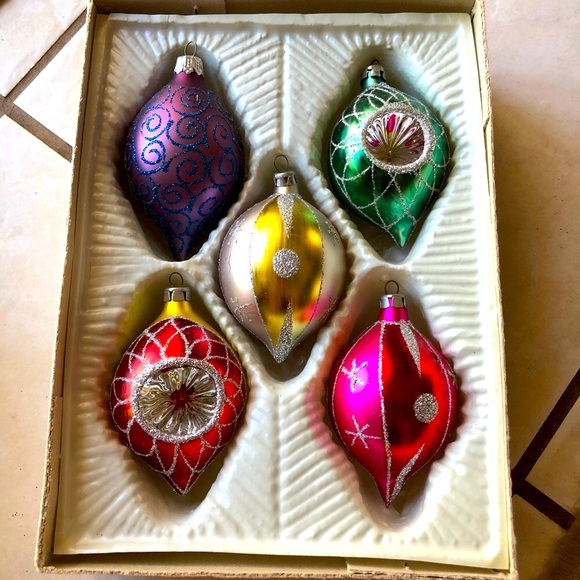 Five Vintage Glass Christmas Ornaments